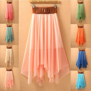 2015 fashion new women Chiffon beach dress slit skirts bohemian fairy skirt  one size = 1928810116
