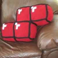 Crochet Tetris Block Pillow-Red