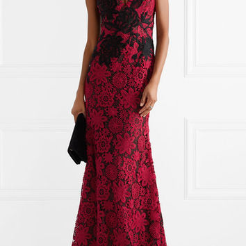 Naeem Khan - Strapless embroidered guipure lace gown