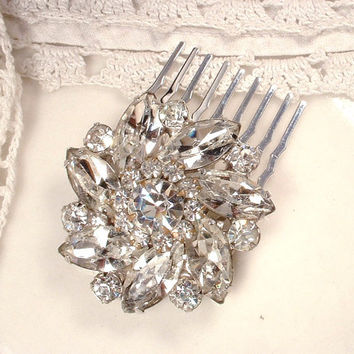 TRUE Vintage Clear Marquise Rhinestone Petite Bridal Hair Comb, Heirloom Silver Small Crystal Round Brooch to OOAK Hair Accessory 1940s Glam