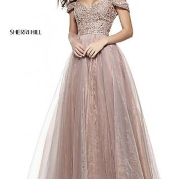 Off-the-Shoulder Sherri Hill Prom Ball Gown