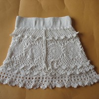 Handmade crochet sweet empty thread knitted short skirt