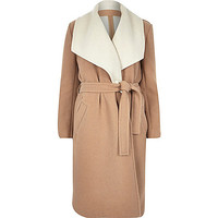 Camel wool-blend belted robe coat - coats - coats / jackets - women