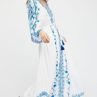 Blue And White Embroidery Long Sleeve Long Maxi Dress
