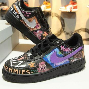 MDIGNW6 VLONE x Nike Air Force 1 Low AF1 Rock And Roll Graffiti 923092-100 Sport Shoes