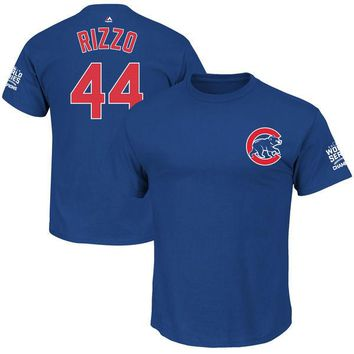 Youth Chicago Cubs Anthony Rizzo Majestic Royal 2016 World Series Champions Name & Number T-Shirt