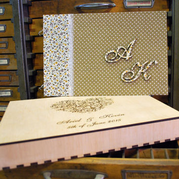 wood wedding guest book photo album personilized with fabric made to order, wood box engraved with wedding date, initials, anniversary gift