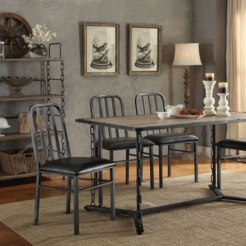 Acme 71995-97 7 pc jodie rustic oak finish wood and antique black metal frame dining table set
