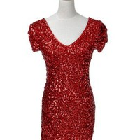 Anna-Kaci S/M Glitzy Glam All Over Sequin Embellished Ruched Sleeve Short Dress (Small, Red)