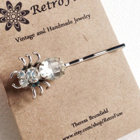 Spider hair pin, silver and rhinestone OOAK hair accessory made from vintage jewelry, creepy costume jewelry