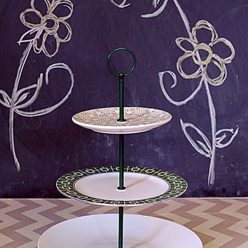 Modern Grey and Green Tiered Cake Stand and Cupcake Stand