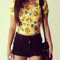 Sun Flower Print Stretchy Crop Top