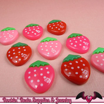 STRAWBERRY Kawaii Cabochons / Decoden Resin Cabochons 16x18mm (10 pieces)
