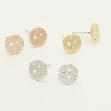 Cheese Stud Earrings / swiss cheese posts, round cheese earrings, moon craters, asteroid earrings / E172