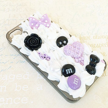 Black iPhone 4/4S Case - Kawaii Decoden - Purple Punk Goth - Sweets Deco - Creepy Cute - Black Bow, Skull - Whipped Cream Snap on Case
