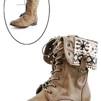 DbDk Fashion Sharp1 Taupe Nordic Lining Combat Boots shop Boots at MakeMeChic.com