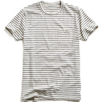 Striped Button Pocket T-Shirt in White