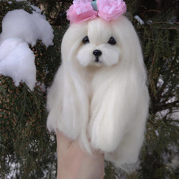 Needle felted Maltese puppy/dog