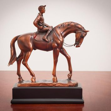 Jockey and Horse Bronze Figurine -11""