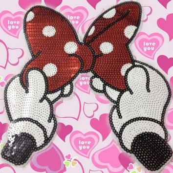 1 Pcs Sequins Bowknot Appliques Cartoon Bow Hand embroidered patches for clothes wedding dress clothing DIY patchwork fabric