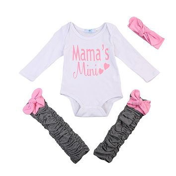 Baby Girl Outfits Set Long Sleeve Romper+ Leg Warmers + Bow Headband Clothes Baby Clothing