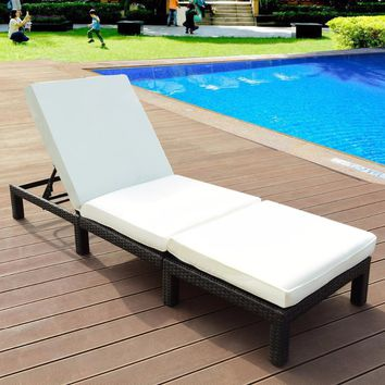 Giantex Adjustable Wicker Chaise Lounge Poolside Couch Furniture with Cushion Outdoor Furniture HW57452