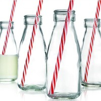 Set of Four (4) Clear Glass Old Fashioned Milk Bottles 6.75-oz ~ 4-pack Drink Cups with Red Striped Straws