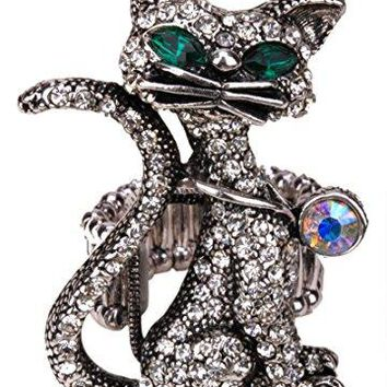 YACQ Jewelry Womens Crystal Cat Stretch Rings Scarf Ring Buckle Clip