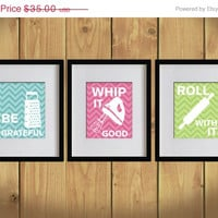 ON SALE Kitchen Art Print - Chevron, Baking Utensils, Zigzag Stripes - Set of 3 - 8X10 - White, Bondi Blue, Hot Pink, Apple Green - No. KB0