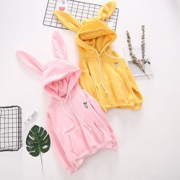 2017 Autumn Winter New Embrodiery Rabbit Ear Hooded Pullover Harajuku Japanese Kawaii Hoodies Women Sweatshirts Plush Lovely