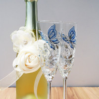 Wedding Champagne Glasses Hand Painted in  Aqua Blue Silver Cream Decorated with Swarovski Crystals
