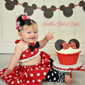 Minnie Mouse Cake Smash Outfit, Girls 1st Birthday Outfit, Minnie Mouse Birthday