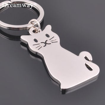 Metal cat keychains key rings fashion animal key chains personalized car key holder pendant women bag charms key rings accessory