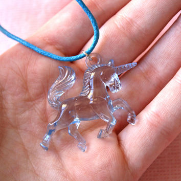 UNICORN Necklace // Blue Pastel Kawaii Punk Cute Cyber Fantasy