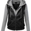 Womens Faux Leather Zip Up Moto Biker Jacket With Hoodie