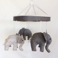 Four Precious Grey White Baby Elephant Mobile