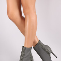 Qupid Perforated Suede Mesh Inset Stiletto Booties