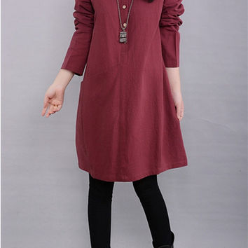 Plus size dress, autumn dress, loose dress, burgundy dress, long sleeve dress, cotton dress, womens shirt dress, casual dress (ESR44)