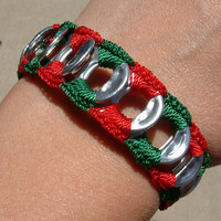 Christmas Bracelet ReCycladelic Upcycled Pop Top Bracelet Santas Helper in Red Green soda tab tie on