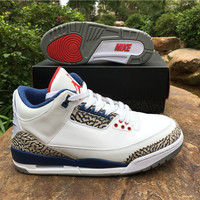 "Air Jordan 3 OG ""True Blue"" Men Leather Basketball Shoes"