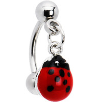 Lady Bug Red Dangle Eyebrow Ring | Body Candy Body Jewelry