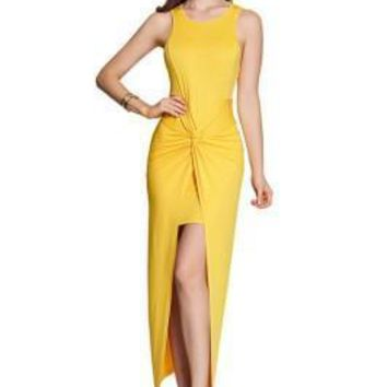 Socialite Wrap Over Front Long Yellow Maxi Dress Sleeveless