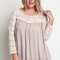 Lace Peasant Top (Plus Size)