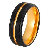 Black Tungsten Ring Yellow Gold Wedding Band Ring Tungsten Carbide 8mm 18K Tungsten Ring Mens Wedding Band Male Women Anniversary Man Engagement Ring Brushed Black Ring