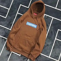 Supreme Stylish Casual Letter Embroidery Long Sleeve Hoodie Pullover Sport Sweatshirt Top Sweater Brown I-CR-CP-WM-YD