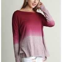 What A Stunner Berry Burgundy Ombre Wideneck Long Sleeve Top