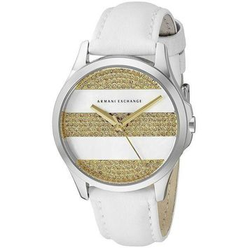 NEW! Armani Exchange Women's AX5240 'Smart' Crystal White Leather Watch