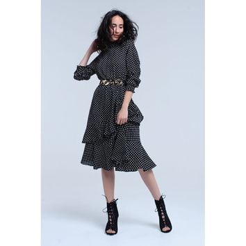 Black midi dress with polka dots and ruffles