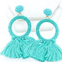 Beaded Tassel Statement Earrings