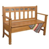 Sunny Designs Sedona Bench with Storage In Rustic Oak